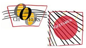 Logo de l'ensemble vocal et de l'ensemble des guitares de Mélodix