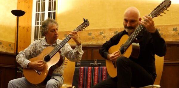 Frédéric Denépoux et Sebastian Morales, professeurs de guitare à Mélodix